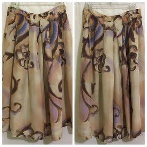 Zara Woman Sz 4 Skirt Silk Floral